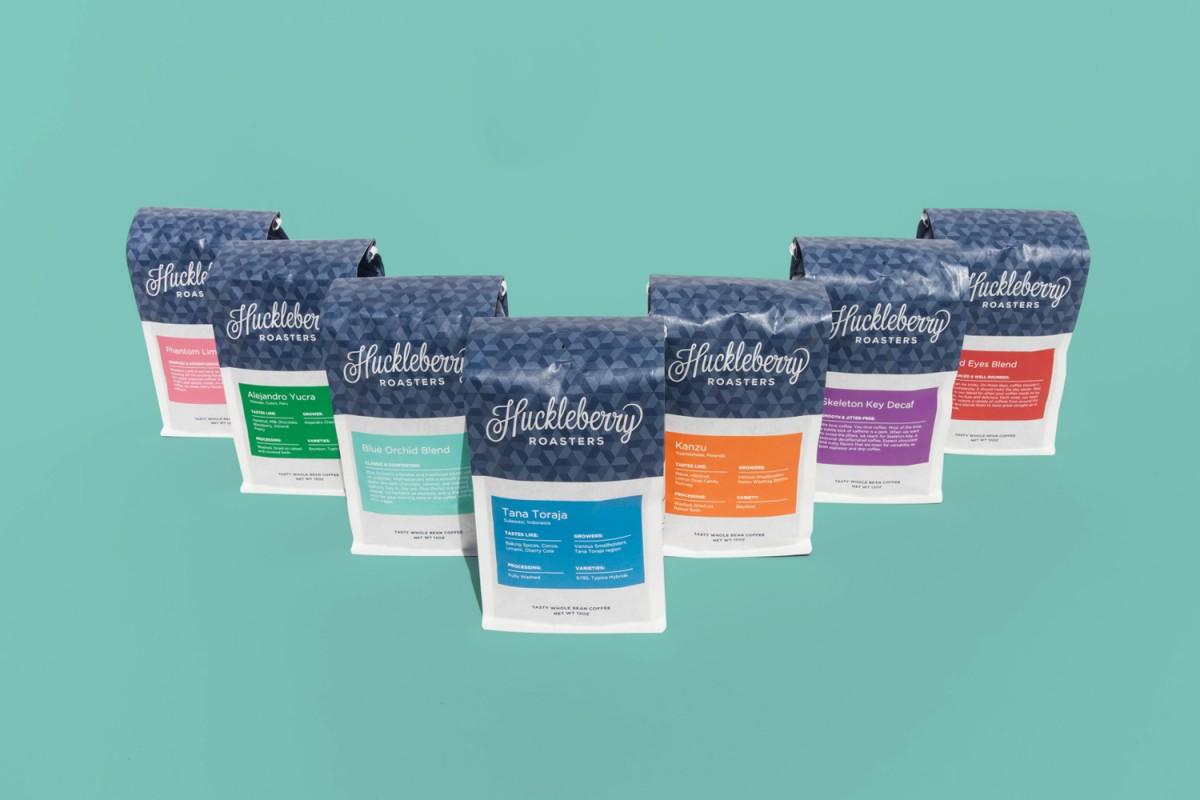 Huckleberry咖啡烘焙企业vi形象设计,产品包装设计