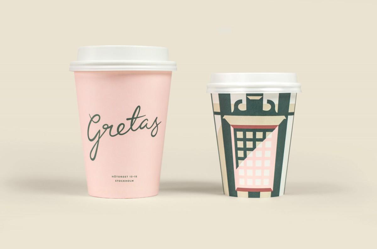Gretas咖啡馆品牌形象vis设计,logo设计