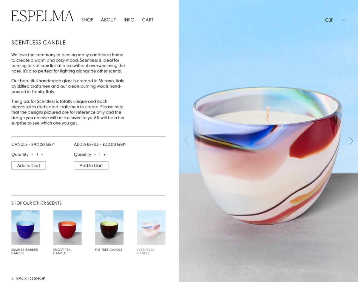 天然蜡烛公司Espelma品牌包装设计,网站设计