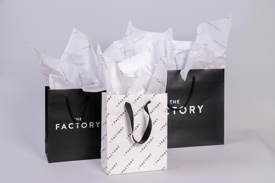 美国factory时装零售品牌vi设计,手提袋设计
