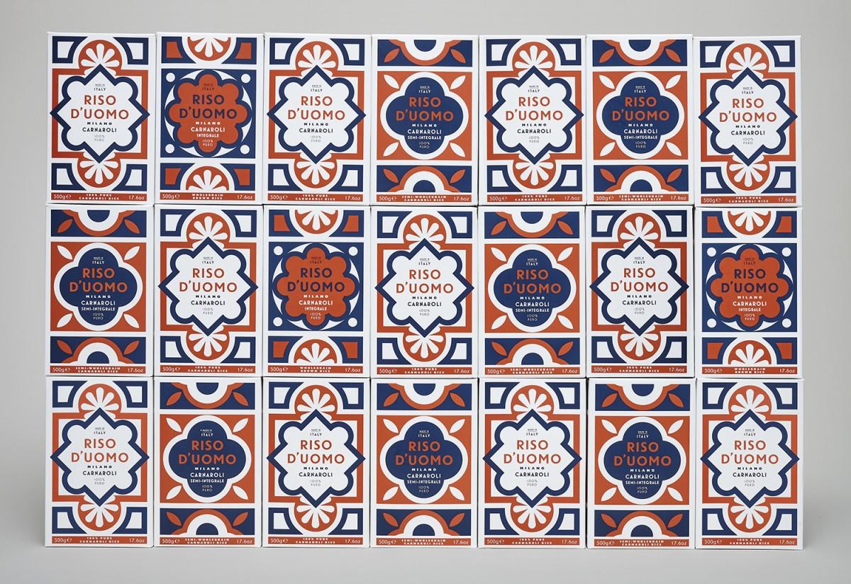 Branding and packaging by London-based Here Design for Milanese artisan rice brandRiso D'uomo
