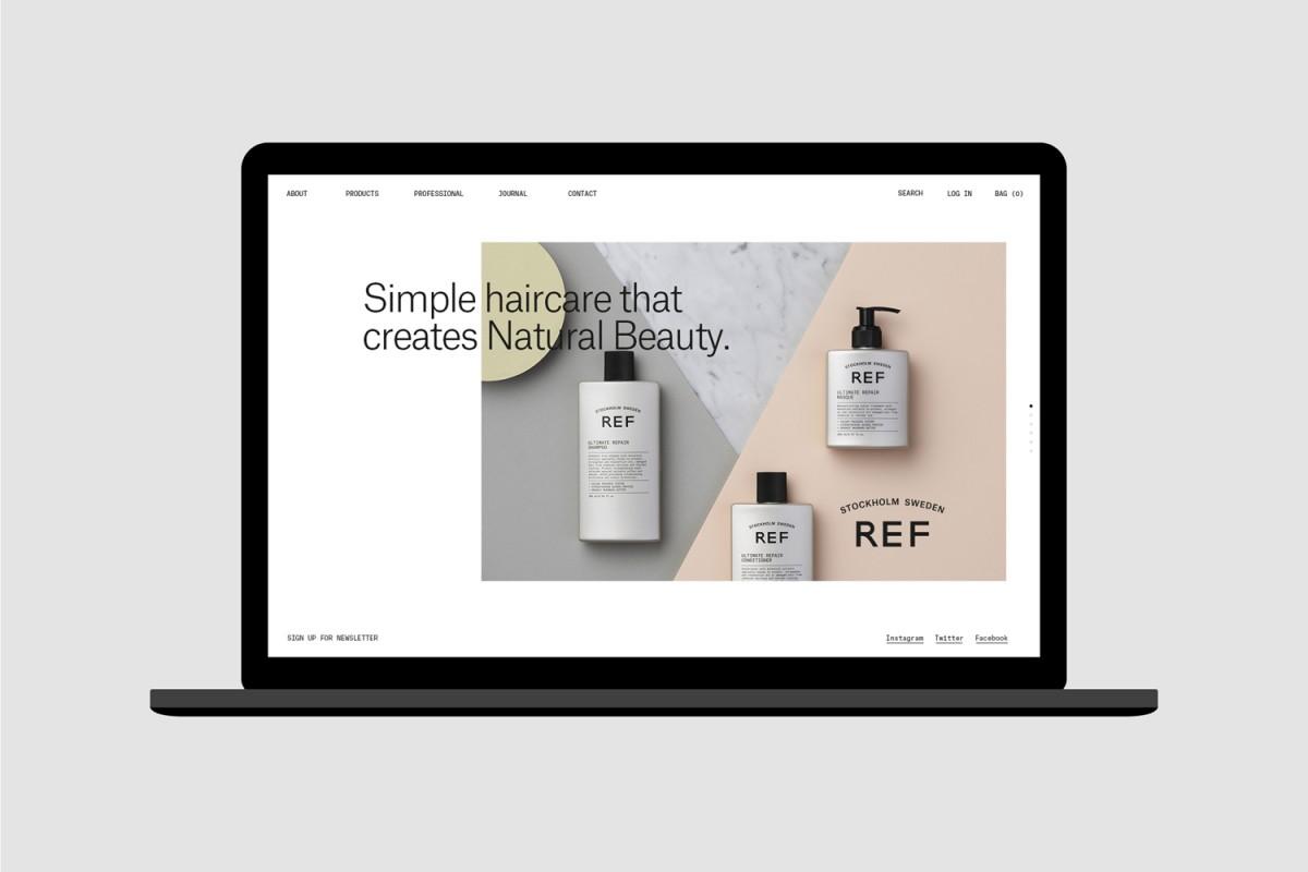 高品质有机REF瑞典护发品牌形象塑造,日用品包装设计,网站设计