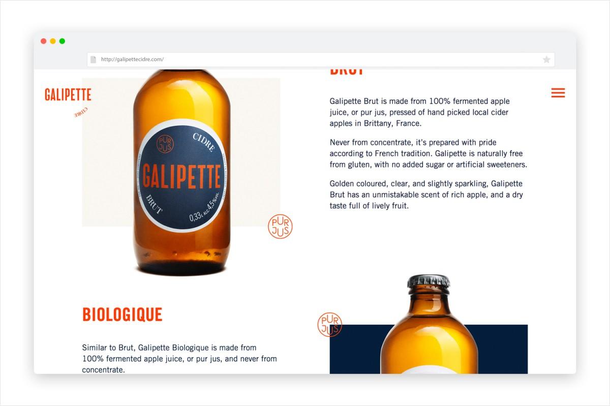 优质苹果酒Galipette产品形象塑造,网站设计