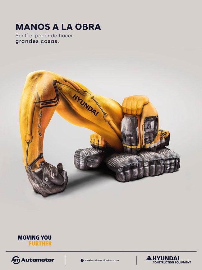 挖掘机感受做伟大事情的力量创意广告设计