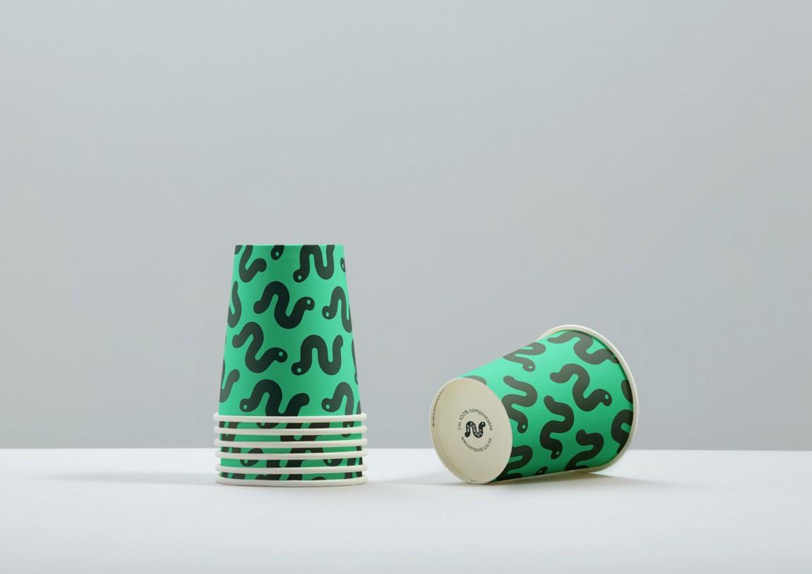 WeCompost城市垃圾分类处理公司品牌设计策划,杯子设计