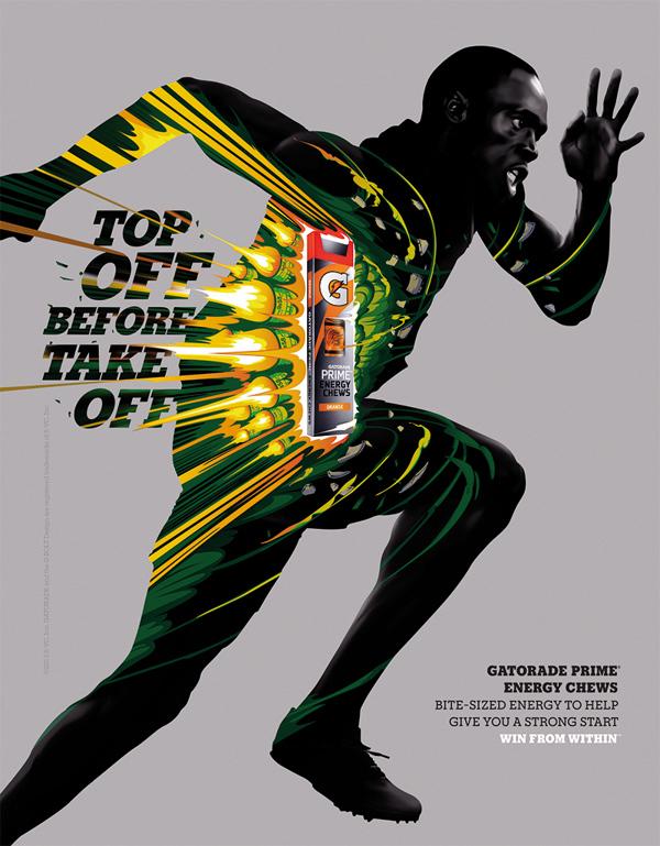 佳得乐运动饮料海报设计,色彩爆发力量