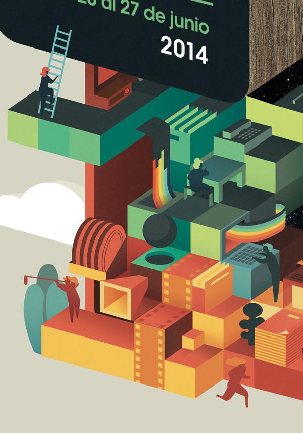 巴伦西亚国际电影节立体户外创意平面广告设计