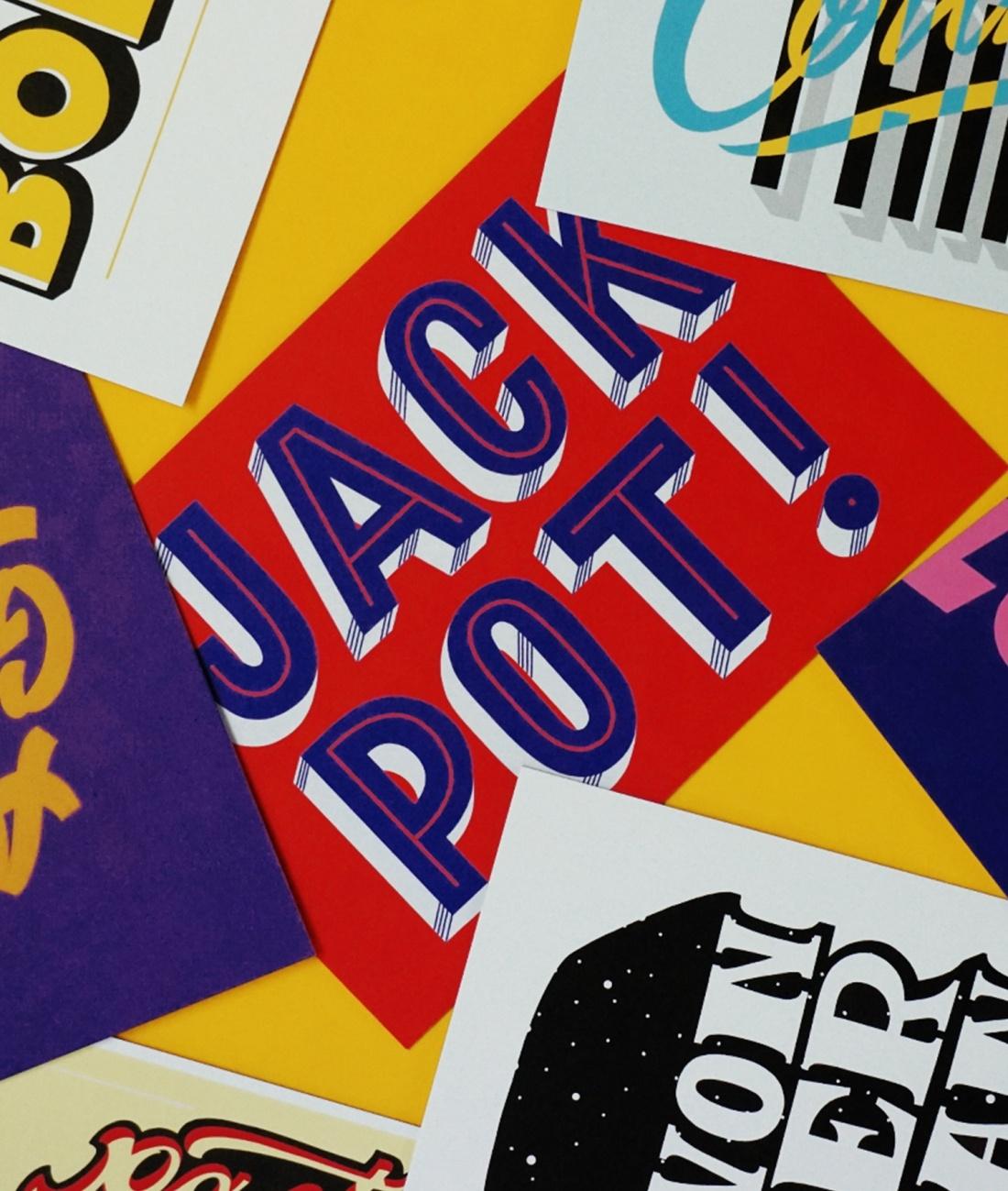 创意明信片设计,伦敦艺术家手写节日庆祝字体设计